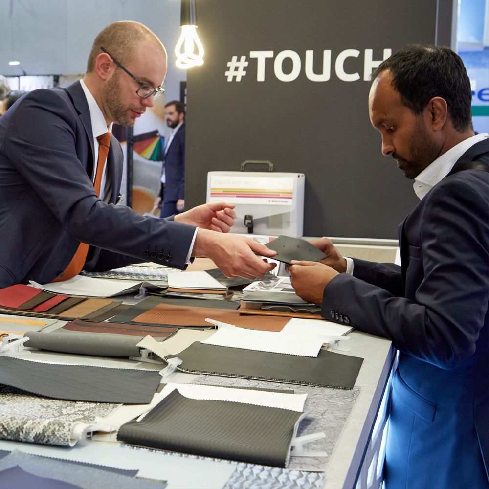 Visitor and exhibitor at Techtextil 2017
